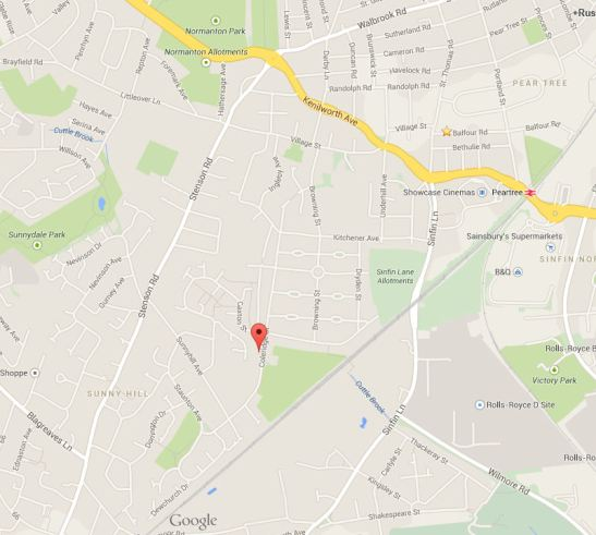 This is a map of the Sunnyhill area showing where sunny hill community centre is located