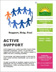 This is a poster for the active support group.
