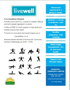 This is a poster for the livewell program at the centre